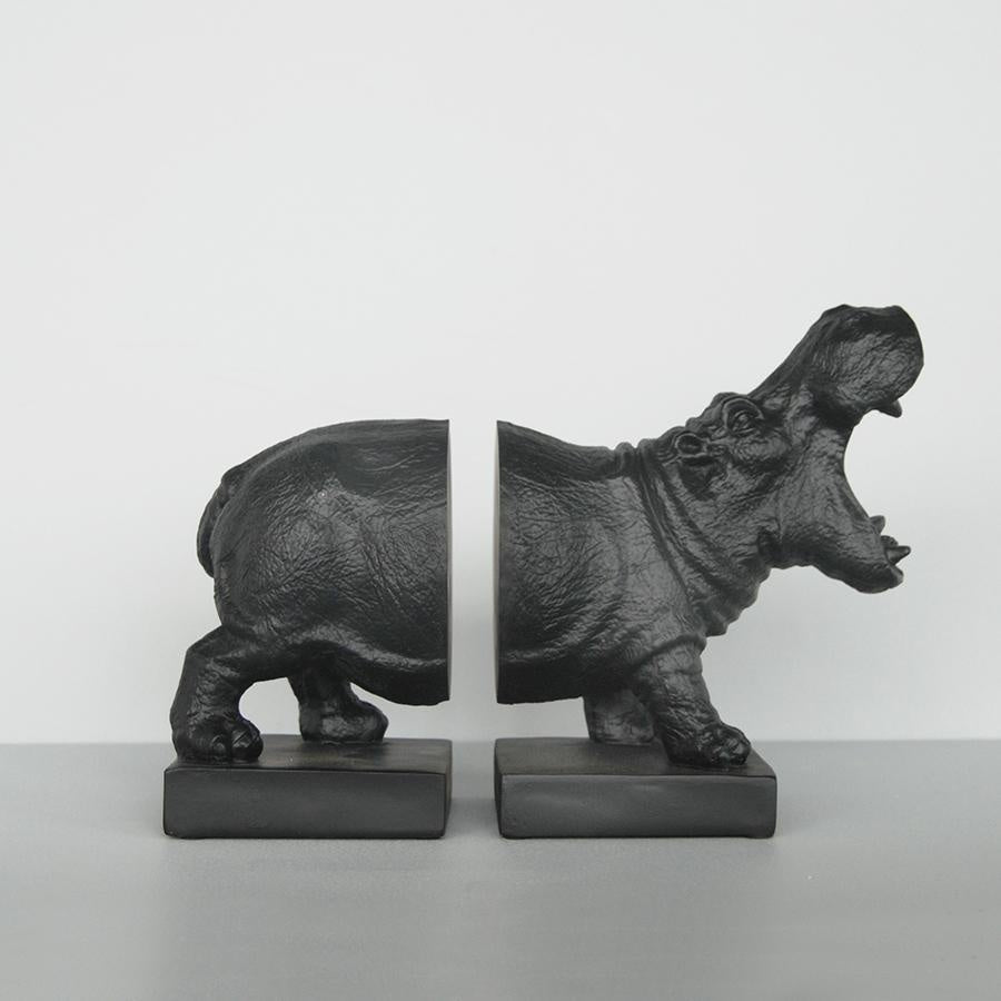 Hippo Bookends Black