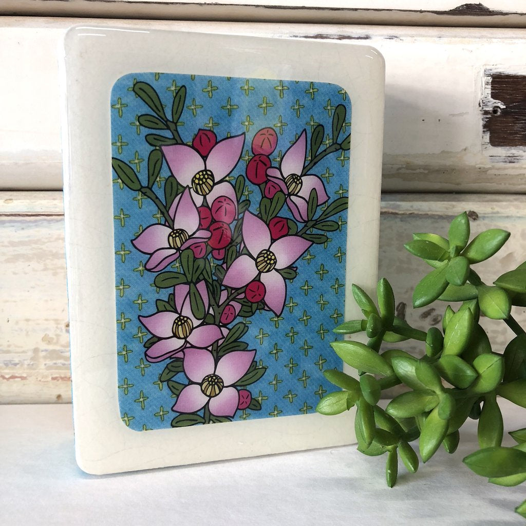 Mini Woodblock Wall Art - Boronia