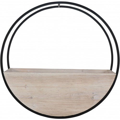 Wooden Wall Planter Full Circle - Large 60cm - White Wash