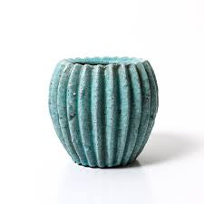 Pleated Pot pool green 19cm