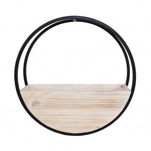 Wooden Wall Planter Full Circle - Small 40cm - White Wash