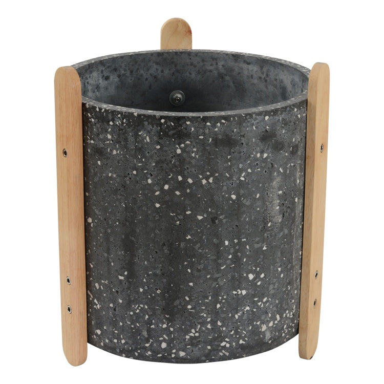 Terrazzo Pot Large with Stand Dark Grey