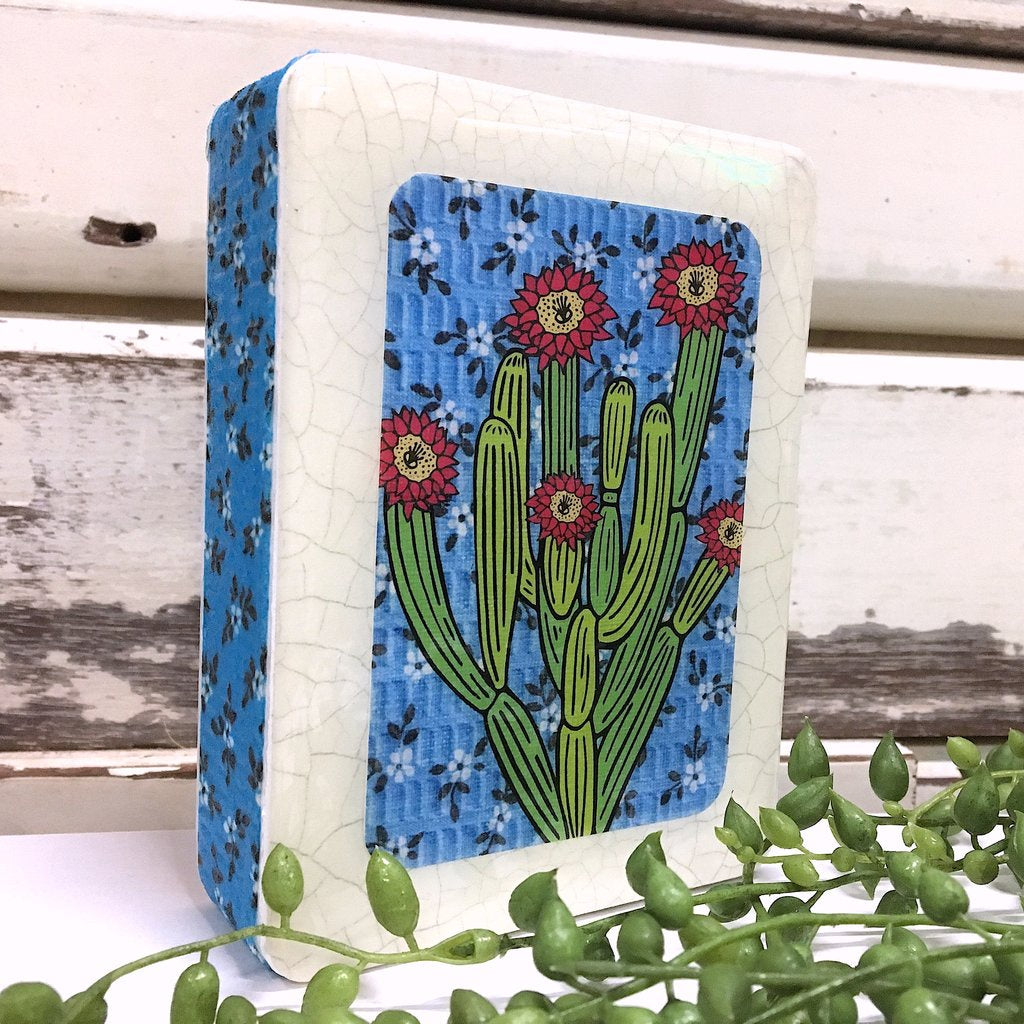 Mini Woodblock Wall Art - Organ Pipe Cactus