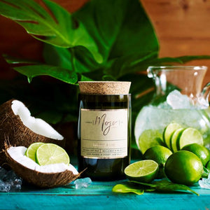 Wine Bottle Candle Coconut & Lime