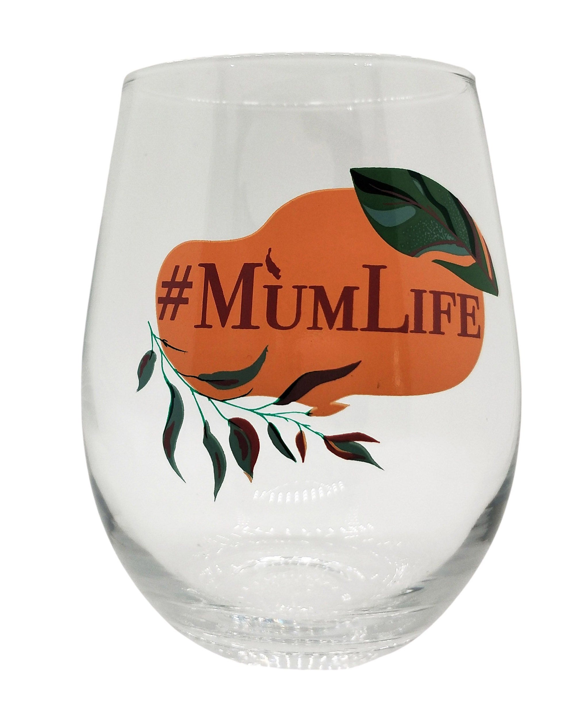 #MumLife Wine Glass Pink & Green 12cm