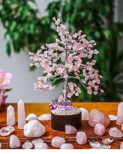 Rose Quartz Tree - Small Silver
