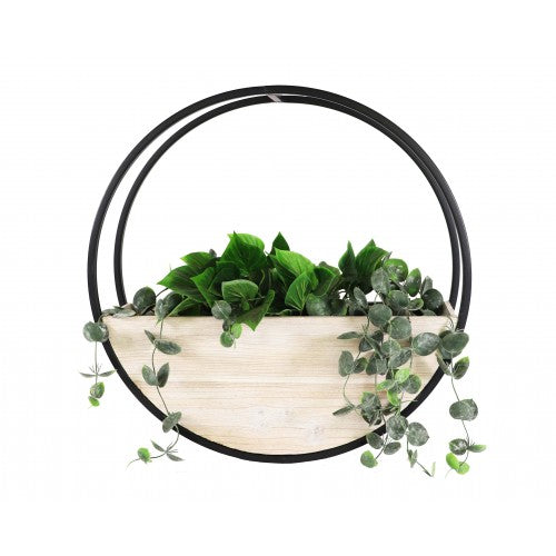 Wooden Wall Planter Full Circle - Medium 50cm - White Wash