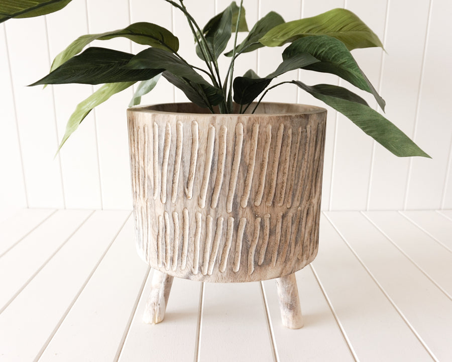 Pot/Planter - Tokoriki - Timber Large White Wash - 27x30