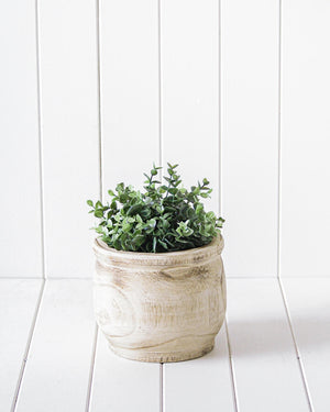 Pot/Planter - Ganesa Timber White Wash - 19x16cm