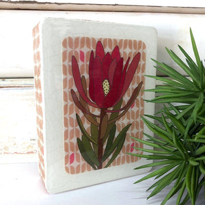 Mini Woodblock Wall Art - Single Leucadendron