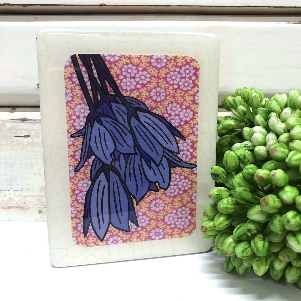 Mini Woodblock Wall Art - Bluebell Creeper