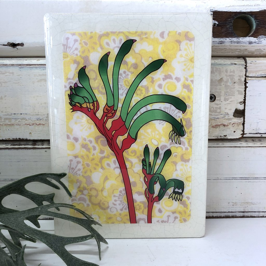 Medi Woodblock Wall Art - Kangaroo Paw
