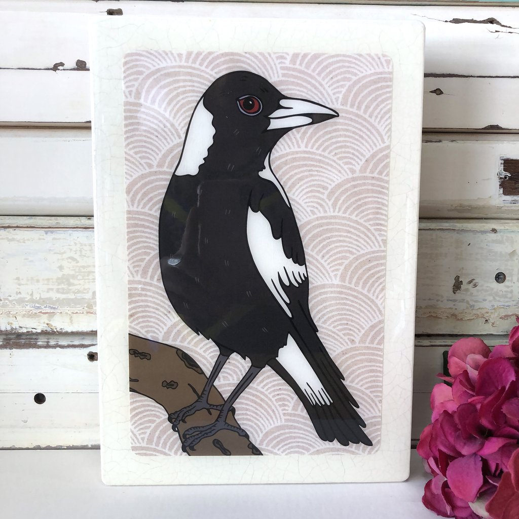 Maxi Woodblock Wall Art - Magpie