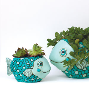 Baby Fish Planter Teal