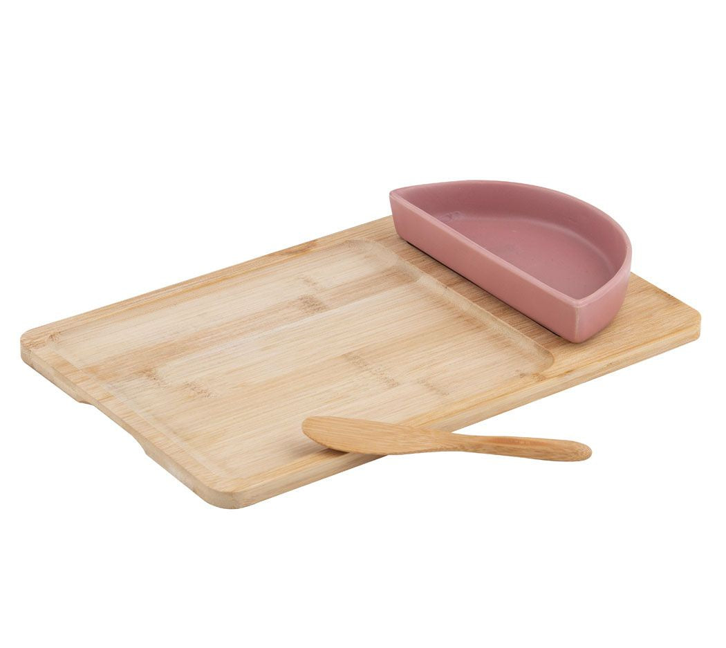 Amora Bowl and Spreader on Bamboo Board