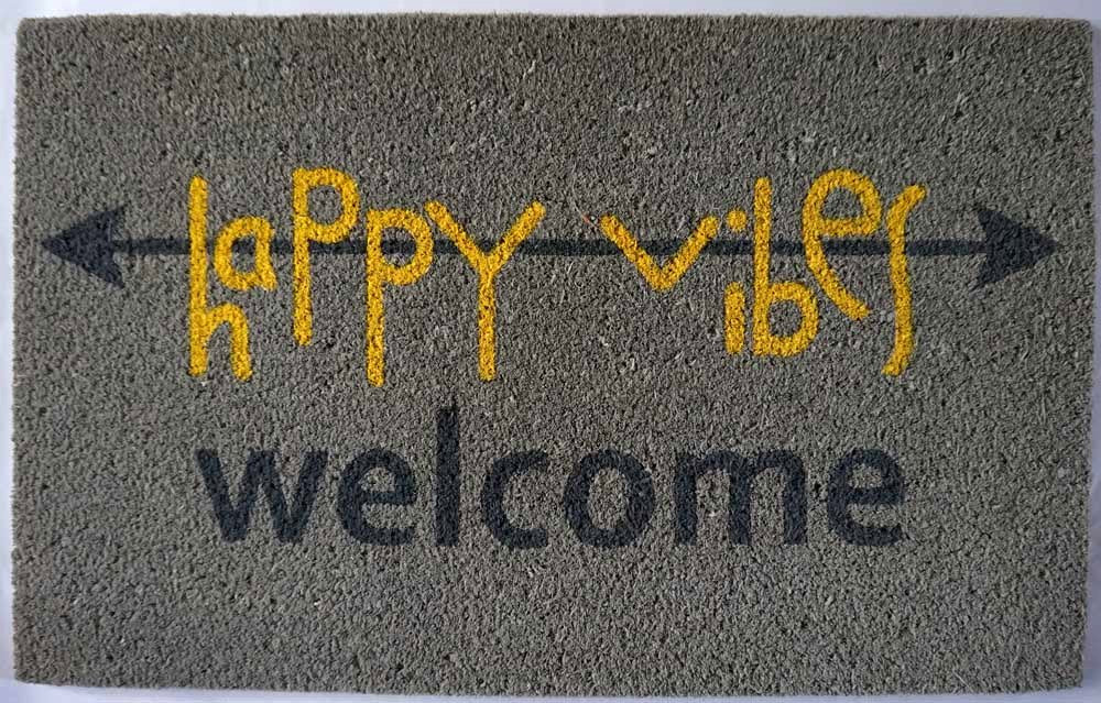 Designer Door Mat - Happy Vibes