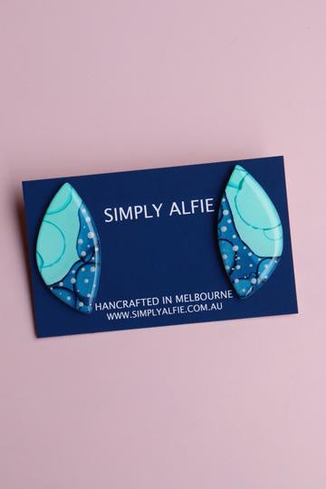 Simply Alfie Statement Studs Green/Blue