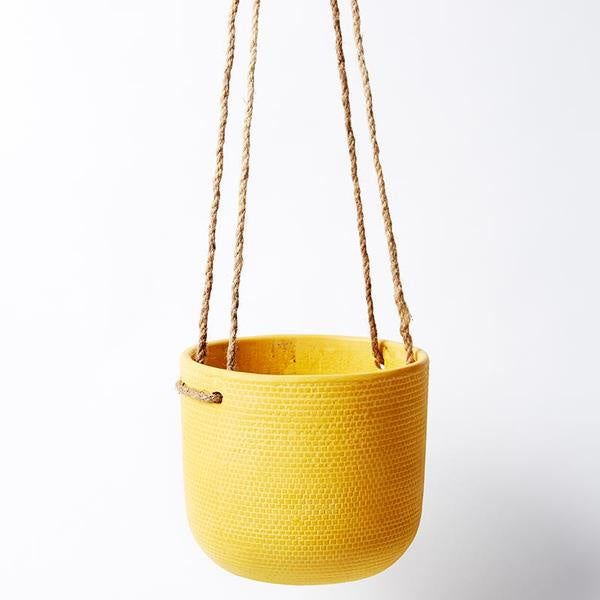 Tweed Hanging Pot - Mustard
