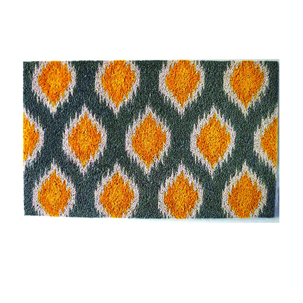Designer Door Mat - Diamond Yellow & Grey