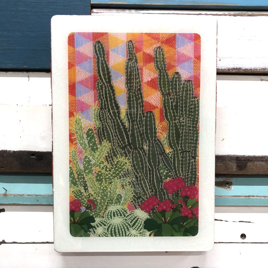 Maxi Woodblock Wall Art - Hacienda Garden
