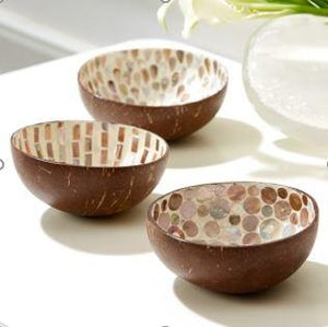 Coconut Decorative Bowl - White Pearl Tear Drop Shell Inlay