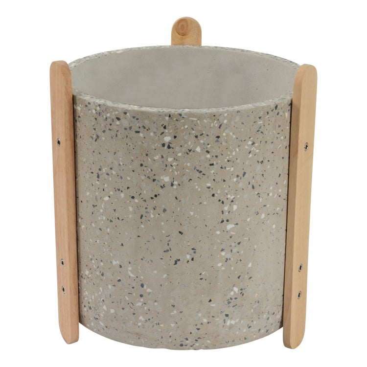Terrazzo Pot with Stand Light Grey Small