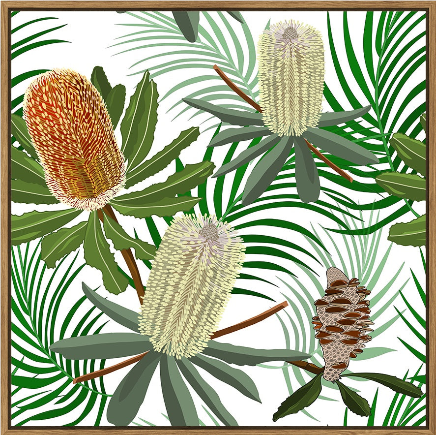 Floating Frame - Calli Native Banksia - 100x100