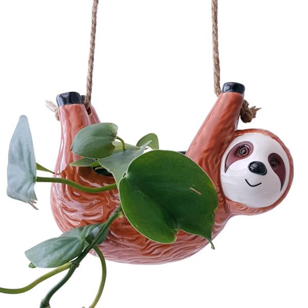 Brown Sloth Hanging Pot