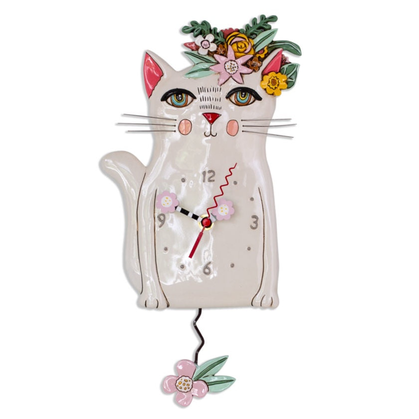 Pretty Kitty White Clock