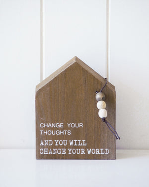 Timber Quote Box - Change Your World - 12x15x5