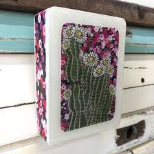 Mini Woodblock Wall Art - Cactus Bloom
