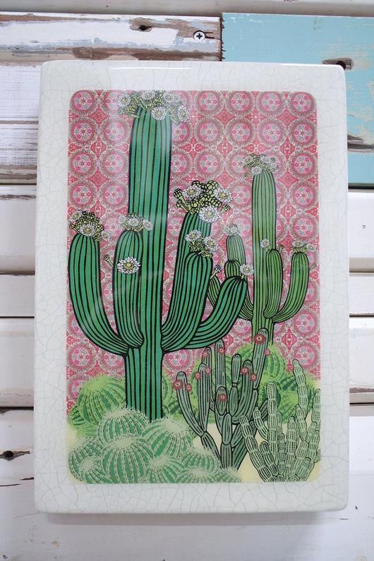 Maxi Woodblock Wall Art - Saguaro Cactus