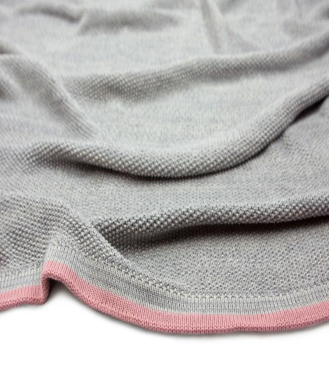 Baby Blanket Grey With Pink Stripe