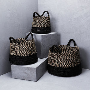 Striped Top with Contrast Base & Handle Basket