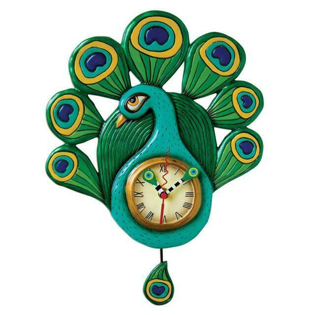 Pretty Peacock Clock