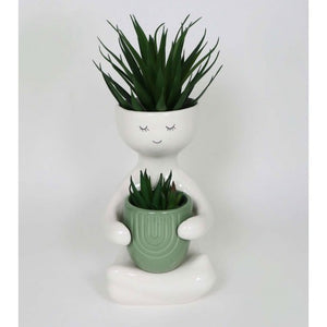 Person Holding a Pot Planter Green