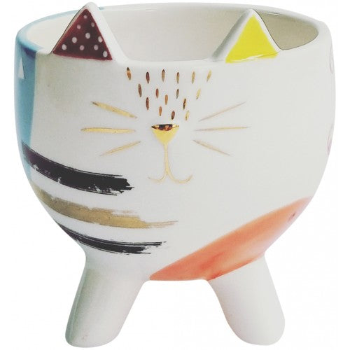 Abstract Cat Planter With Legs Multicoloured