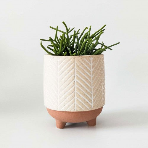 Kyra Stripe Planter with Legs White & Terracotta