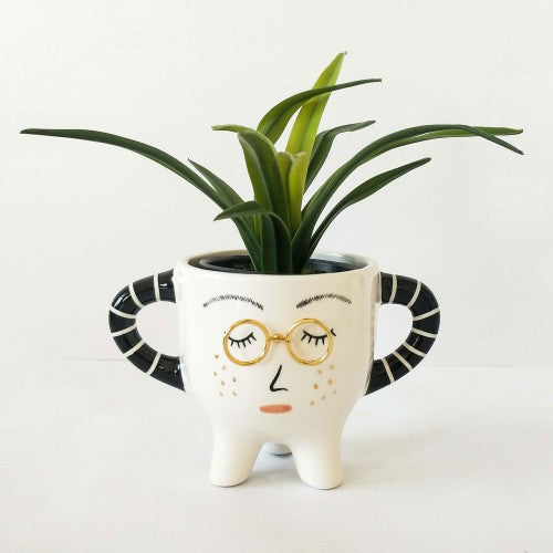 Lady with Glasses Planters with Legs White