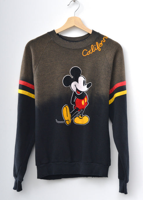 Vintage Mickey & California Embroidery Sweatshirt - Washed Black