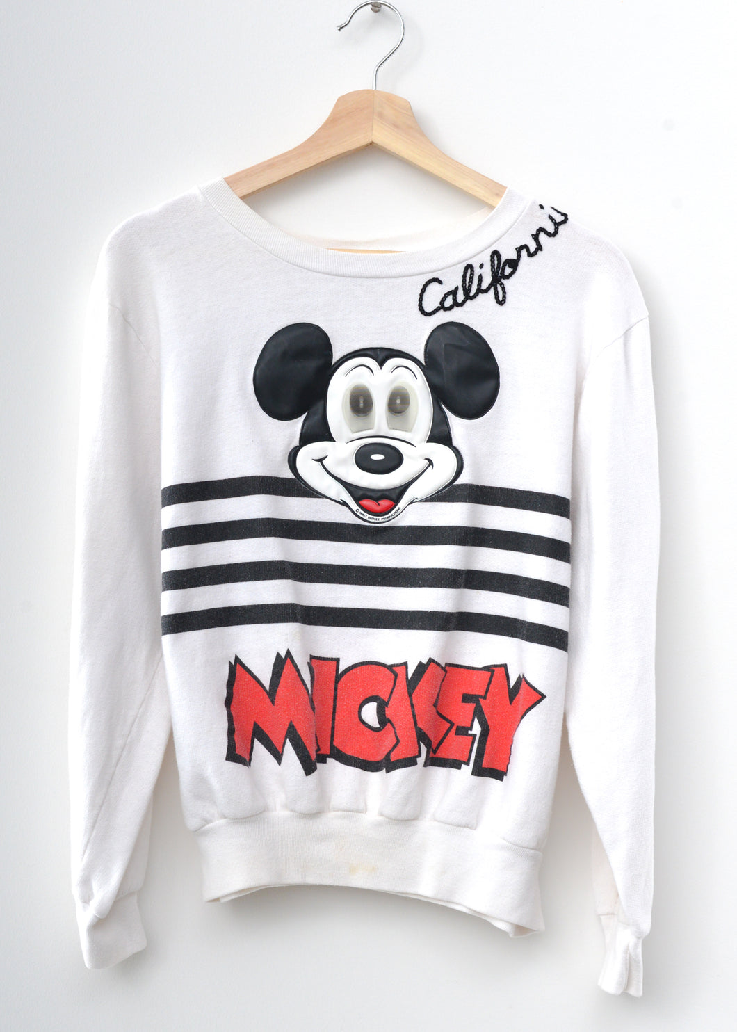 Vintage Mickey & California Embroidery Sweatshirt - Vintage White