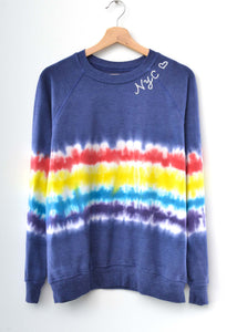 "Festival Tie Dyed ""NYC❤️"" Sweatshirt- Navy"