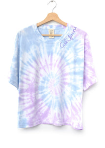 LILAC BREEZE SWIRL TIE DYE S/S TEE WITH CUSTOM HAND EMBROIDERY