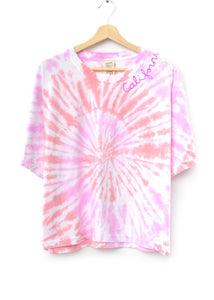 PINK DREAM SWIRL TIE DYE S/S TEE WITH CUSTOM HAND EMBROIDERY