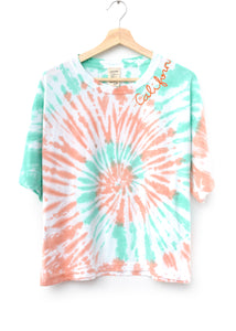 "Coachella Swirl Tie Dyed ""California"" Tee- Honeydew"