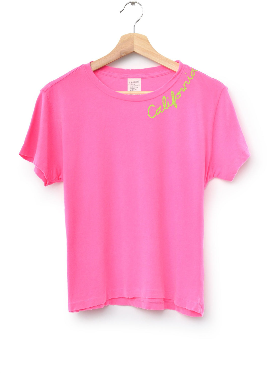 NEON PINK CATALINA S/S TEE WITH CUSTOM HAND EMBROIDERY