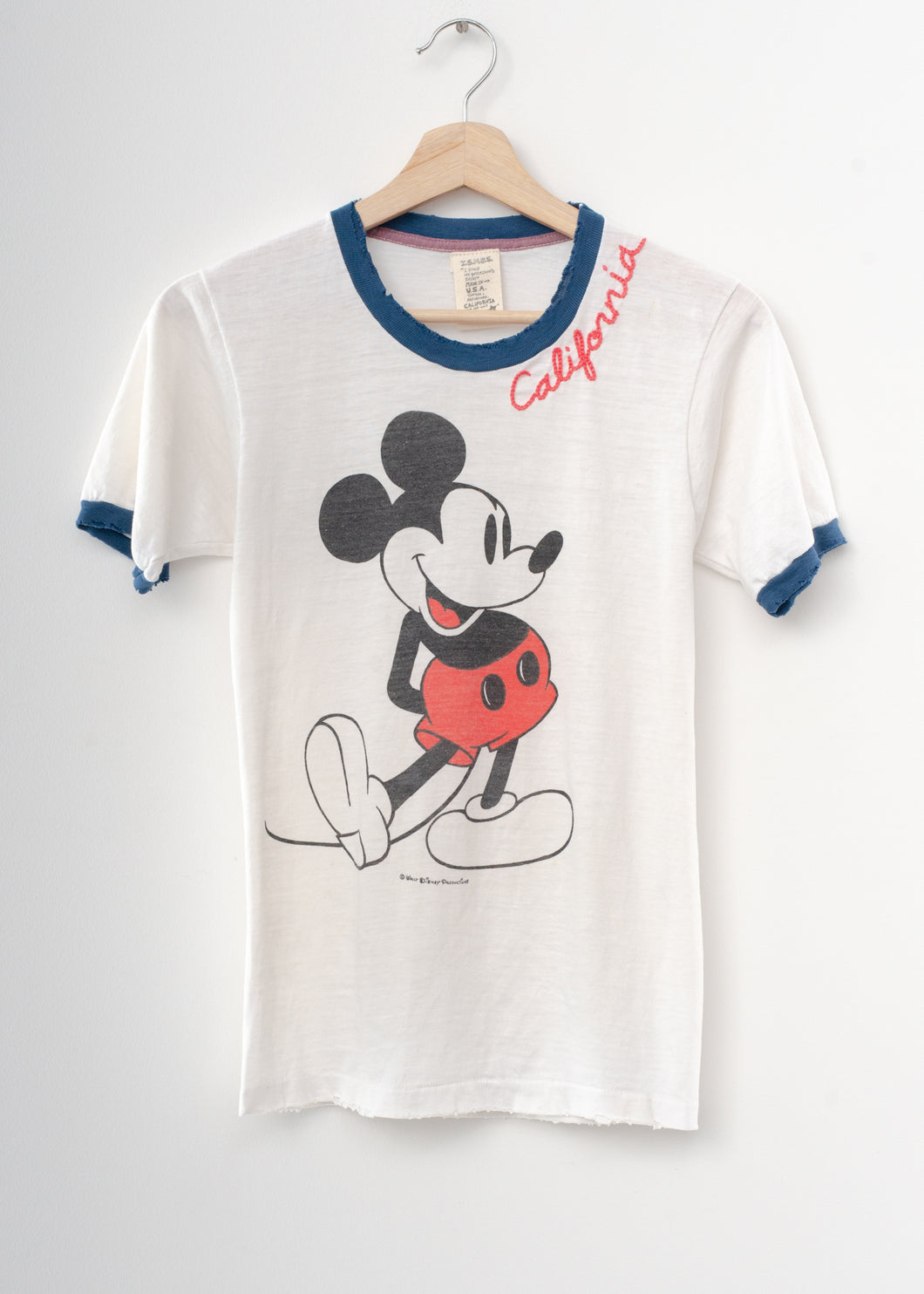 Vintage Mickey & California Embroidery Tee - Vintage White