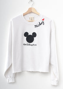 Vintage Mickey Patch & Mickey ❤️ Embroidery Cropped Sweatshirt - White
