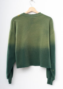 Vintage Mickey & California Embroidery Cropped Sweatshirt - Nature Green