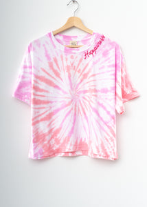 "Coachella Swirl Tie Dyed ""Happiness"" Tee- Pink Dream"